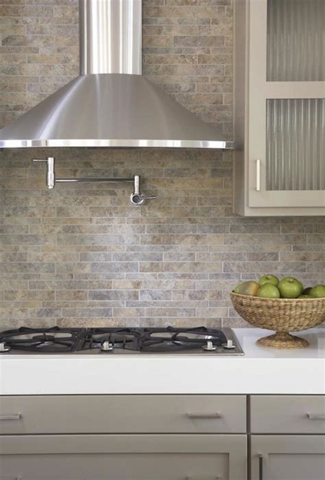 gray tile backsplash taupe cabinets contemporary kitchen terracotta