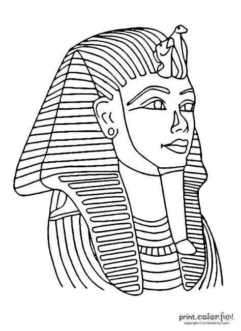 King Tut Mask Template by Tutankhamun Mask Coloring Page Print Color
