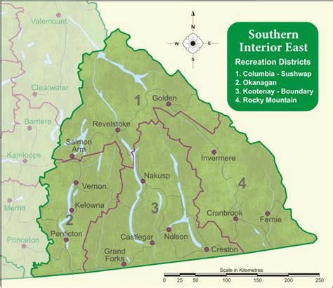 Interior Bc Map by Recreation And Trails Bc