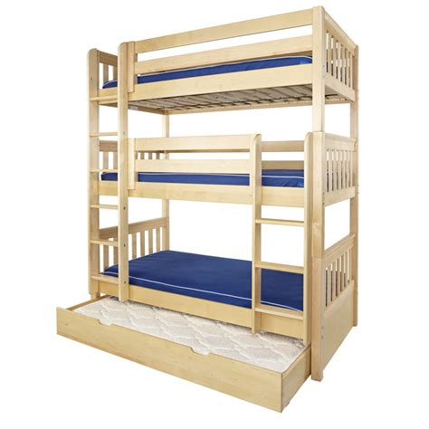 triple bed maxtrix holy triple bunk bed in natural with slat bed ends