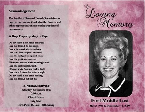 funeral obituary programs templates loved one free microsoft office funeral service or