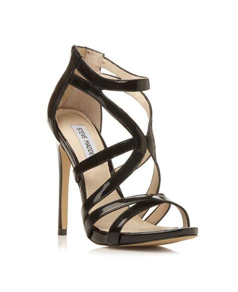 black strappy sandals steve madden stella strappy stiletto sandals in black lyst