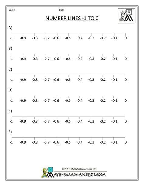 printable number line for decimals printable number lines negative numbers