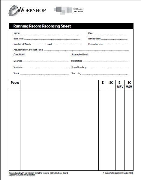E Workshops Running Record Recording Sheet Assessment Reading Reading Comprehension Running Record Template Early Childhood
