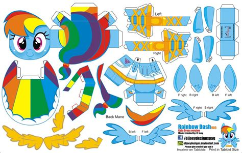 Rainbow Dash Papercraft - rainbow dash gala dress 005 joinys 2 0 by eljoeydesigns