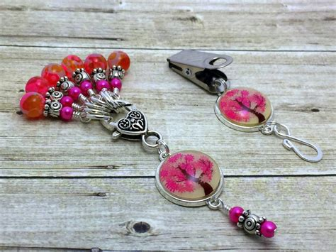 knitting pin pink tree portuguese knitting pin stitch marker gift set