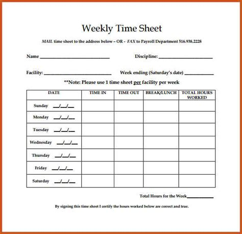 weekly timesheet template sop exle gt gt 22 pretty