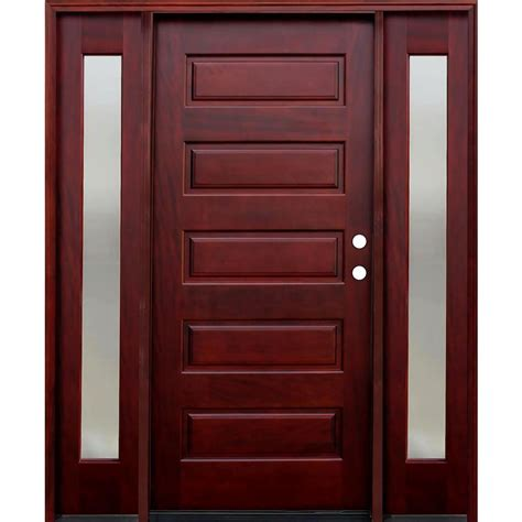 Front Door Panel Pacific Entries 70 In X 80 In 5 Panel Stained Mahogany Wood Prehung Front Door W 6 In Wall