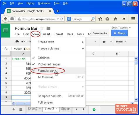 formula tutorial google sheets how to show or hide formula bar in google sheets