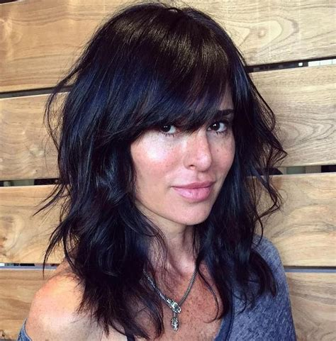 Lob Haircut With Layers | 40 side swept bangs to sweep you off your feet black