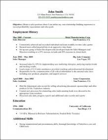 Simple Resume Sles In Word Sales Resume Sales Resume Sle