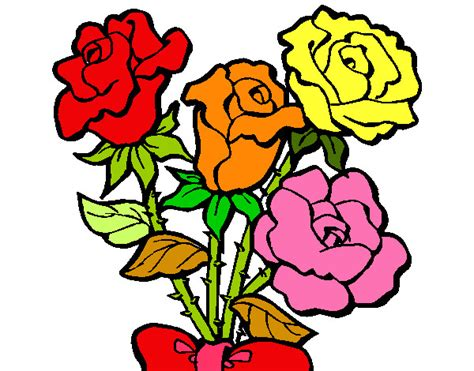imagenes de flores a color dibujo de rosas de colores pintado por natalia27 en