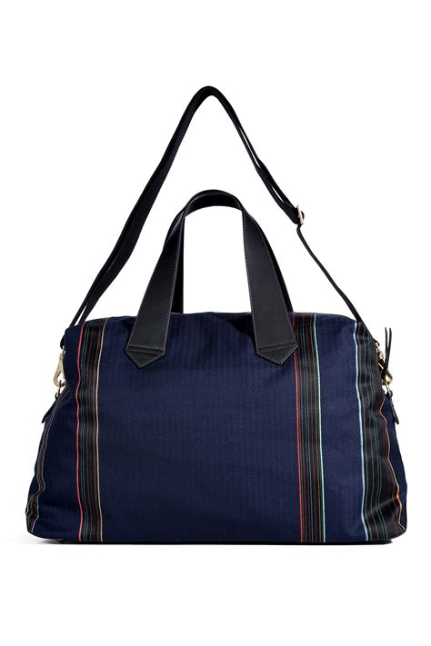 This Paul Smith Bag Looks Better If You Squint by Paul Smith Navy Wool Leather Holdall Travel Bag In Blue