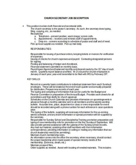 Secretary Job Description Exle 10 Free Word Pdf Documents Download Free Premium Templates Church Director Description Template