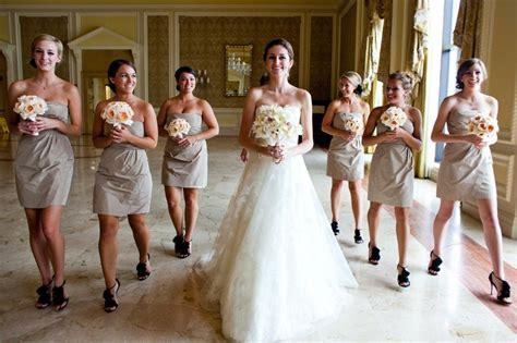 Longdress Melony brides bridesmaids photos taupe bridesmaid dresses