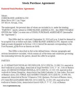 stock purchase agreement template stock purchase agreement sle stock purchase agreement