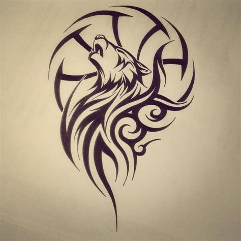 howling wolf tribal tattoo tribal howling wolf design