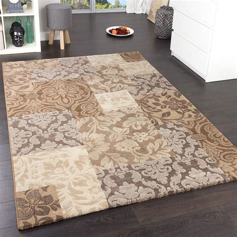 teppich beige precious designer rug baroque check flecked in light brown