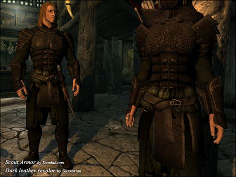skyrim armor and clothing scout armor black leather dark green clothes at skyrim