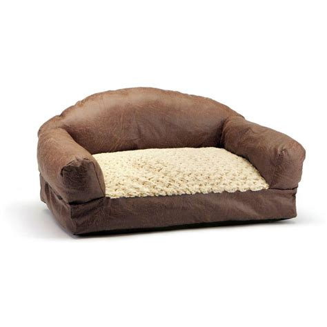 leather dog sofa brinkmann pet products 29 in brown faux fur and faux