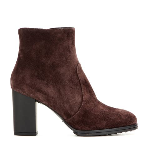 tods boots lyst tod s heeled suede ankle boots in brown