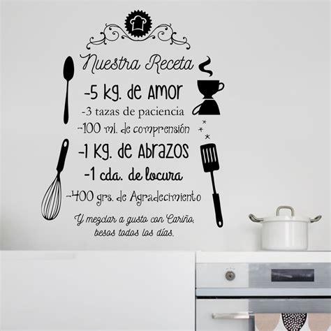 vinilos decorativos cocina vinilo decorativo frases cocina nuestra receta pared