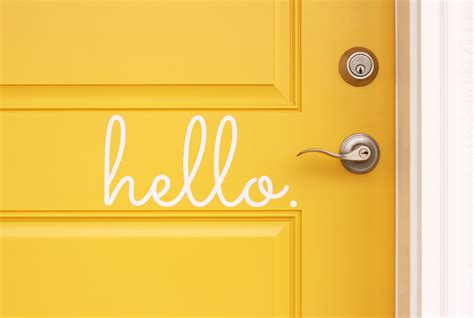 Hello Front Door Decal Hello Vinyl Door Decal Hello Front Door Decals Hello Home