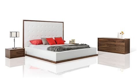 contemporary walnut bedroom furniture modrest beth modern walnut with white leatherette bedroom