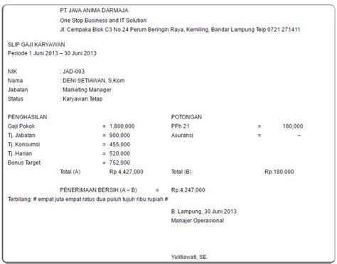 contoh slip gaji karyawan sederhana 7 contoh slip gaji karyawan guru perusahaan pns file