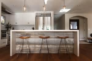 Waterfall kitchen island transitional kitchen eric aust architect