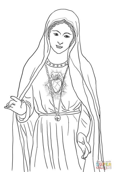 printable coloring pages virgin mary immaculate heart of mary coloring page free printable