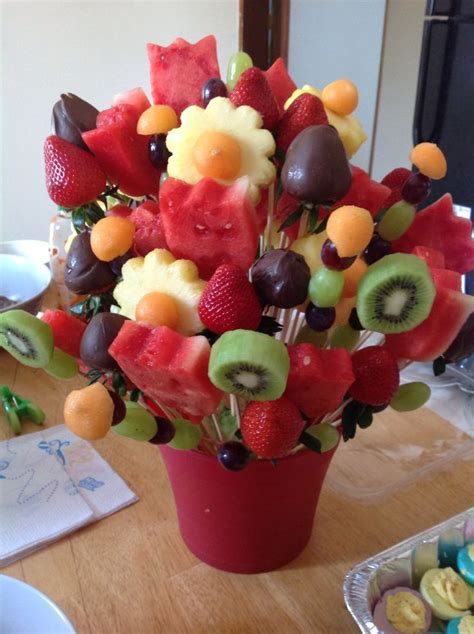 diy edible decorations diy edible arrangement with fresh fruits and no citric make it it pin it