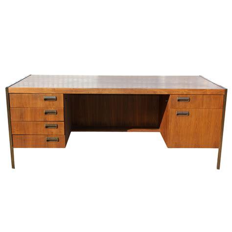 Modern Wood Desk 6ft Mid Century Modern Bronze Frame Wood Desk Ebay