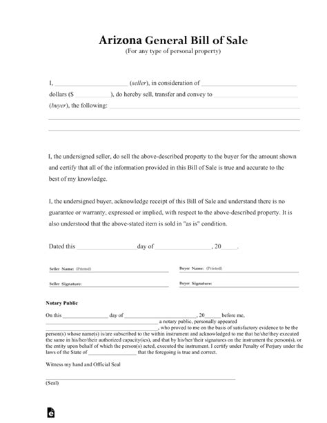 bill of sale form free arizona general bill of sale form pdf eforms