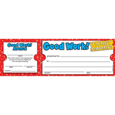 do printable tickets work good work ticket awards tf 1612 scholastic teaching