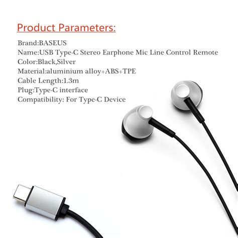 Earphone Usb Type C With Mic Volume For Letv Smartphone baseus b51 metal usb type c stereo earphone line digital headphone with mic sale