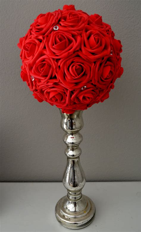 Red Flower Ball With Bling Wedding Centerpiece Kissing Ball Floral Balls Centerpieces