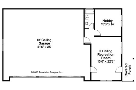 Garage Floorplans Craftsman House Plans Rv Garage W Living 20 042 Associated Designs