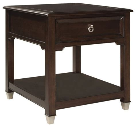accent table storage magnussen darien square storage end table transitional