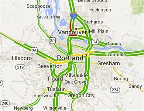 map of oregon 205 tuesday morning commute traffic on i 5 i 205