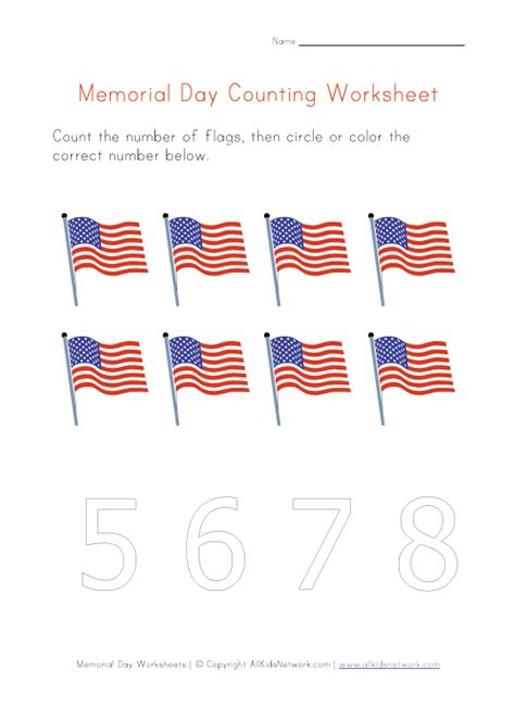 Memorial Day Worksheets by Memorial Day Worksheet Count To Eight