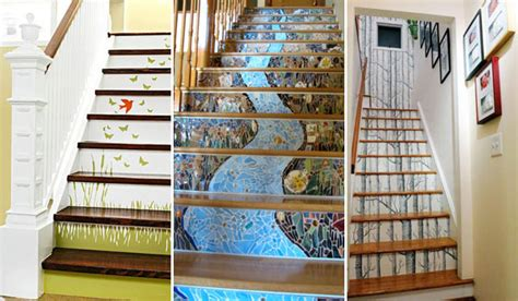 easy home decor ideas how to decorate staircase during 20 diy wallpapered stair risers ideas to give stairs some