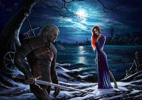 Girls White Curtains The Witcher A Night To Remember Digital Art By Igor Avdeev