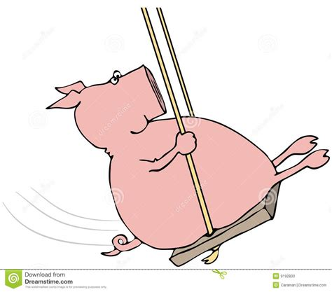 pig on a swing swinging pig stock photo image 9192830