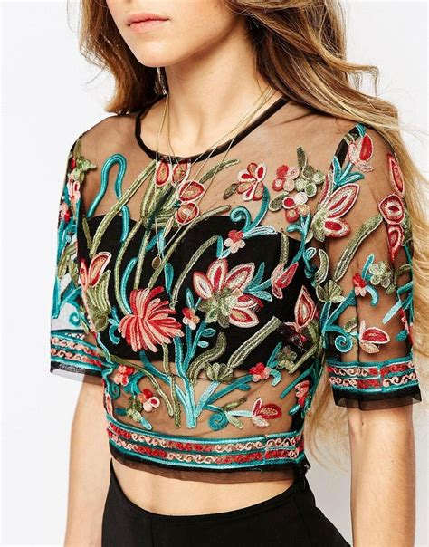 embroidery fashion ebonie n ivory sheer mesh crop top in festival embroidery