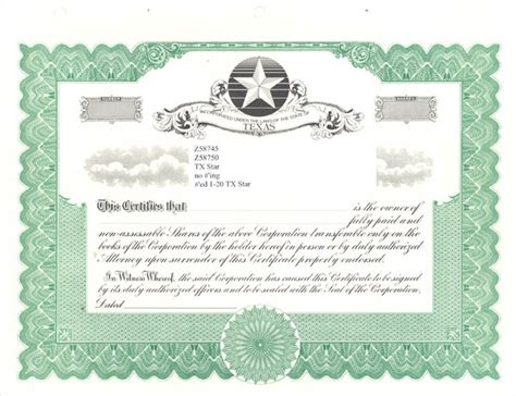 blank stock certificates  printable documents