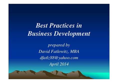 Best Technology Development Programs Mba by Best Practices In Business Development