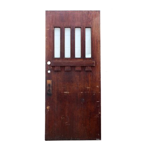 Salvaged Exterior Doors Salvaged 36 Craftsman Entry Door Oak With Beveled Glass Ned168 For Sale Antiques