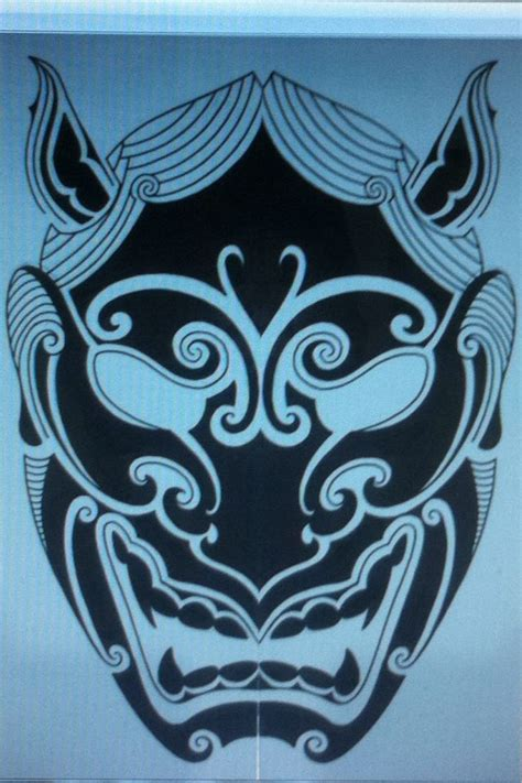 hannya mask design tattoo pinterest