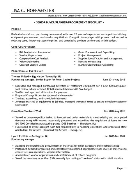 senior logistic management resume   Senior Buyer
